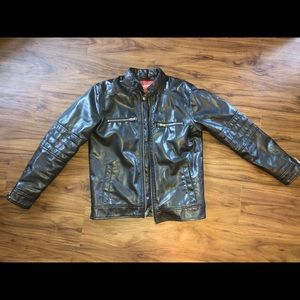Black Zip Up Boy Faux Leather Jacket L Size 14/16